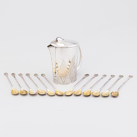 Cocktailkanna och  skedar, 12 st, silver, auran kultaseppä oy, Åbo 1956 resp guido alm, lovisa 1932