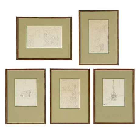 Carl spitzweg, pencil drawings, 5, stapped signature, one signed