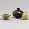 Two stoneware vases and a miniature bowl by berndt friberg, gustavsbergs studio