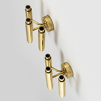 HANS-AGNE JAKOBSSON, a pair of 'Prelaten' brass wall lights designed in 1989.