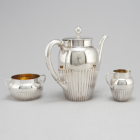 A three piece silver coffee service from gab, stockholm, 1920 1