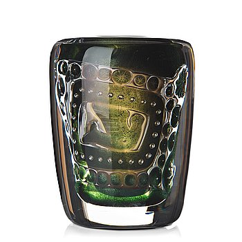 """9. Edvin Öhrström, an """"ariel"""" glass vase, Orrefors 1951, nr 1421E."""