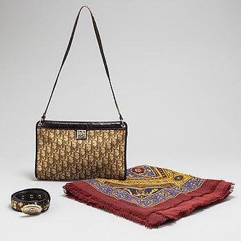 CHRISTIAN DIOR, sjal, skärp & väska.