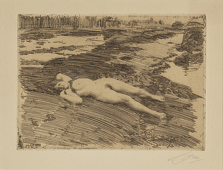 Anders zorn, etching, 1917-18, signed in pencil.