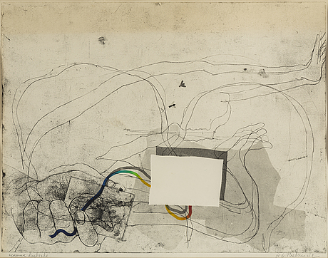 Pg thelander, etching in colours, signed ea.
