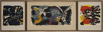 OLLE BONNIÉR, färglitografisk portfölj/triptyk, samramad, signerad Bonniér, daterad -64 samt numrerad 65/80 med blyerts.