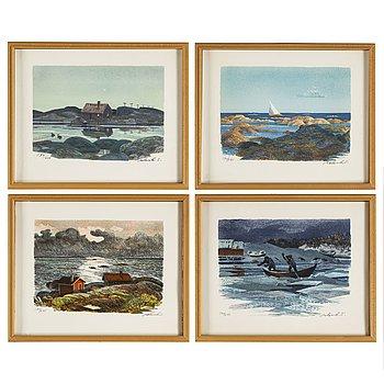 ROLAND SVENSSON, färglitografier, 4, signerade och numrerade 174/275.