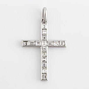 Platinum cross with step-cut diamonds.