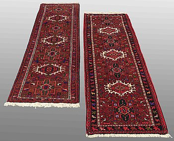 TWO KARADJA RUGS, CA 212 x 60  and  210 x 63 cm.