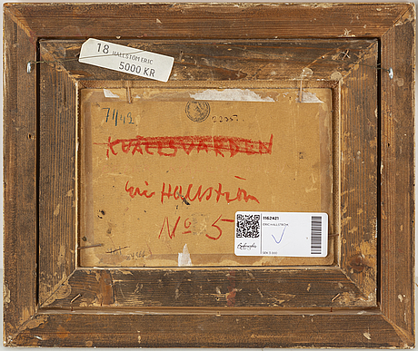 Eric hallstrÖm, mixed media on paper-panel, signed.