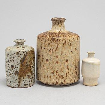 ROLF PALM, vaser, tre stycken, stengods, 1950 / 60-tal.