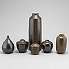 Arthur andersson, six stoneware vases, wallåkra, signed. 1950s / 60s.