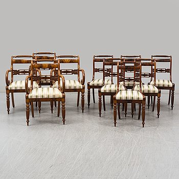 A set of four mahogany late empire armrest chairs and six chairs, Stockholm mid 19th century.