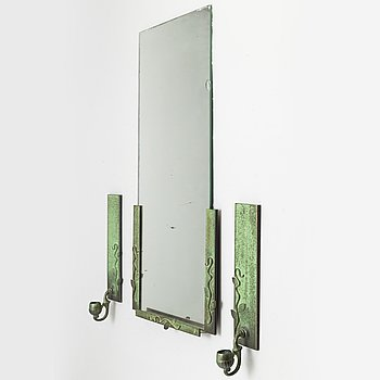 a mirror with two wall sconces, 1920's-30's.