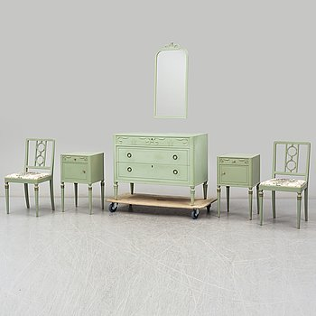 A mirror, a chest of drawers, two bedside tables and two chairs, Svenska Möbelfabrikerna Bodafors. Mid 20th century.
