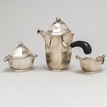 A three-piece silver coffee service from GAB, Stockholm, 1932-3.