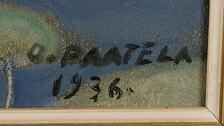 Oskari paatela, oil on board, signed and dated 1936