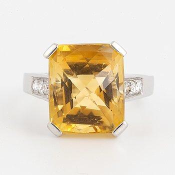 Citrine and brilliant-cut diamond cocktail ring.