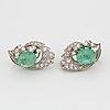 Cabochon cut emerald and brilliant cut diamond earrings