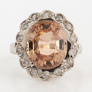 Zircon and eight-cut diamond cocktail ring.