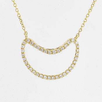 Brilliant-cut diamond half moon necklace.