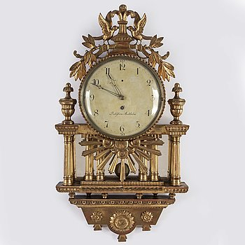 A late gustavian ca 1800 wall clock by Israel Dahlström (clockmaker in Stockholm 1792-1829).