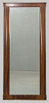 A late Empire mahogany mirror.