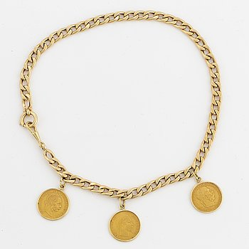 14K gold bracelet, with gold coins.