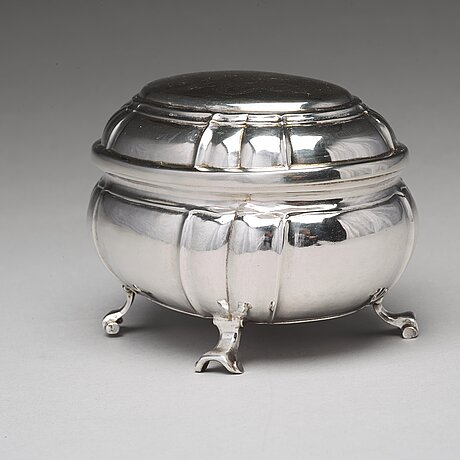 A swedish 18th century silver sugar-casket, mark of johan pettersson berg, norrköping 1743.