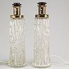 Bordslampor, ett par, glas, ab stilarmatur tranås, 1900 talets andra hälft