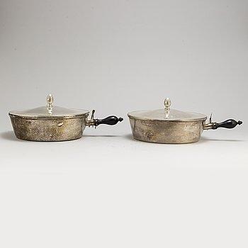 A pair of lidded silver pots from A B Erlandsson, Kristianstad, 1918.