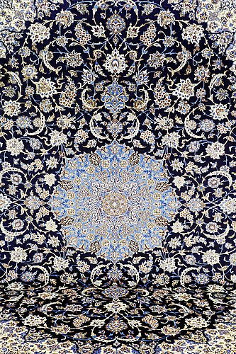 A carpet, old isfahan part silk, 374 x 270 cm.