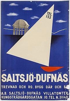 OLLE NYMAN, vintage poster, 'Saltsjö-Dufnäs', J. Olséns Litografiska Anstalt, Stockholm, 1932.