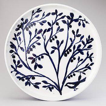 HEINI RIITAHUHTA, a porcelain dish 'Blue berry and bird', signed Heini Riitahuhta 2004 Arabia.