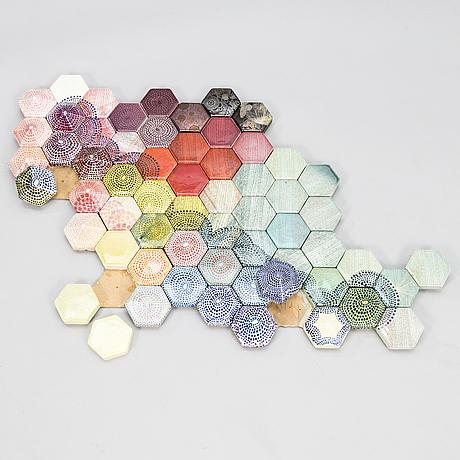 Heini riitahuhta, a porcelain hexagon relief 'cloud', signed heini riitahuhta.