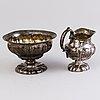 Milk jug and sugar bowl, silver, finland 19th century