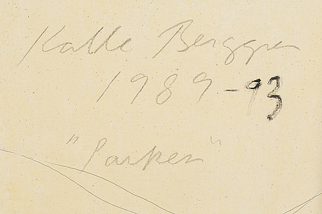 Kalle berggren, canvas, signed and dated 1989-93 on verso.