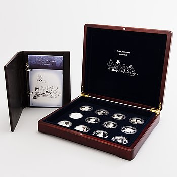 Collection of sterling silver medals, Tove Jansson and the Moomin Characters, Rahapaja Oy, Finland 2004-2005.