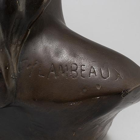 Jef lambeaux, after. bust, plaster, signed jef lambeaux