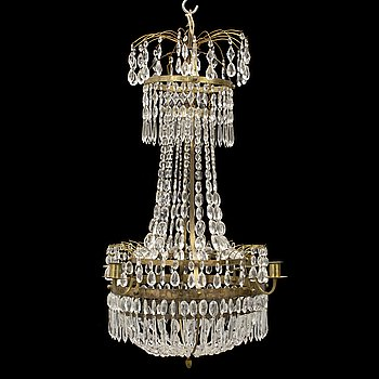 An early 20th century late gustavian style chandelier.