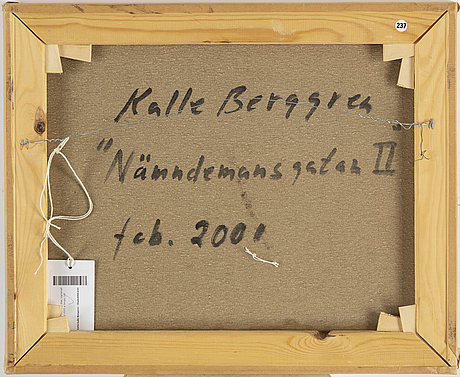 Kalle berggren, signed and dated 2001 on verso.