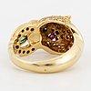 18k gold brilliant-cut diamond, ruby and emerald tiger ring.