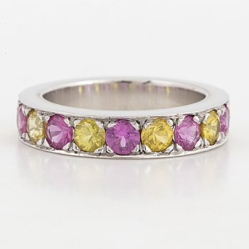 18K white and yellow and pink sapphire half-eternity ring.