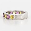 18k white and yellow and pink sapphire half eternity ring