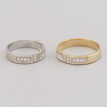 TWO RINGS, brilliant cut diamonds, 14K gold and white gold.