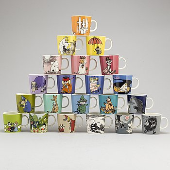 21 porcelain Moomin Characters mugs from Arabia, Finland.