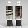 A pair of stoneware table lamps by inger persson, rörstrand