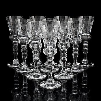 10 vodka glasses 'Gustav III', Reijmyre Glasbruk.