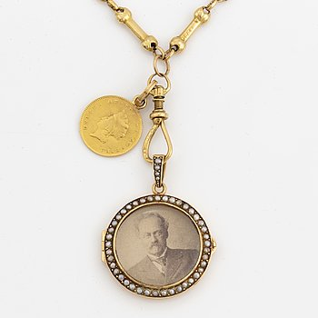 18k gold necklace, with locket with seed pearls and gold coin.