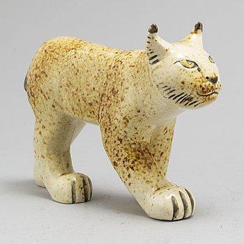"""LISA LARSON, figurin, stengods, """"Lodjur"""", för NK, Nordiska Kompaniet i samarbete med Gustavsberg och WWF."""
